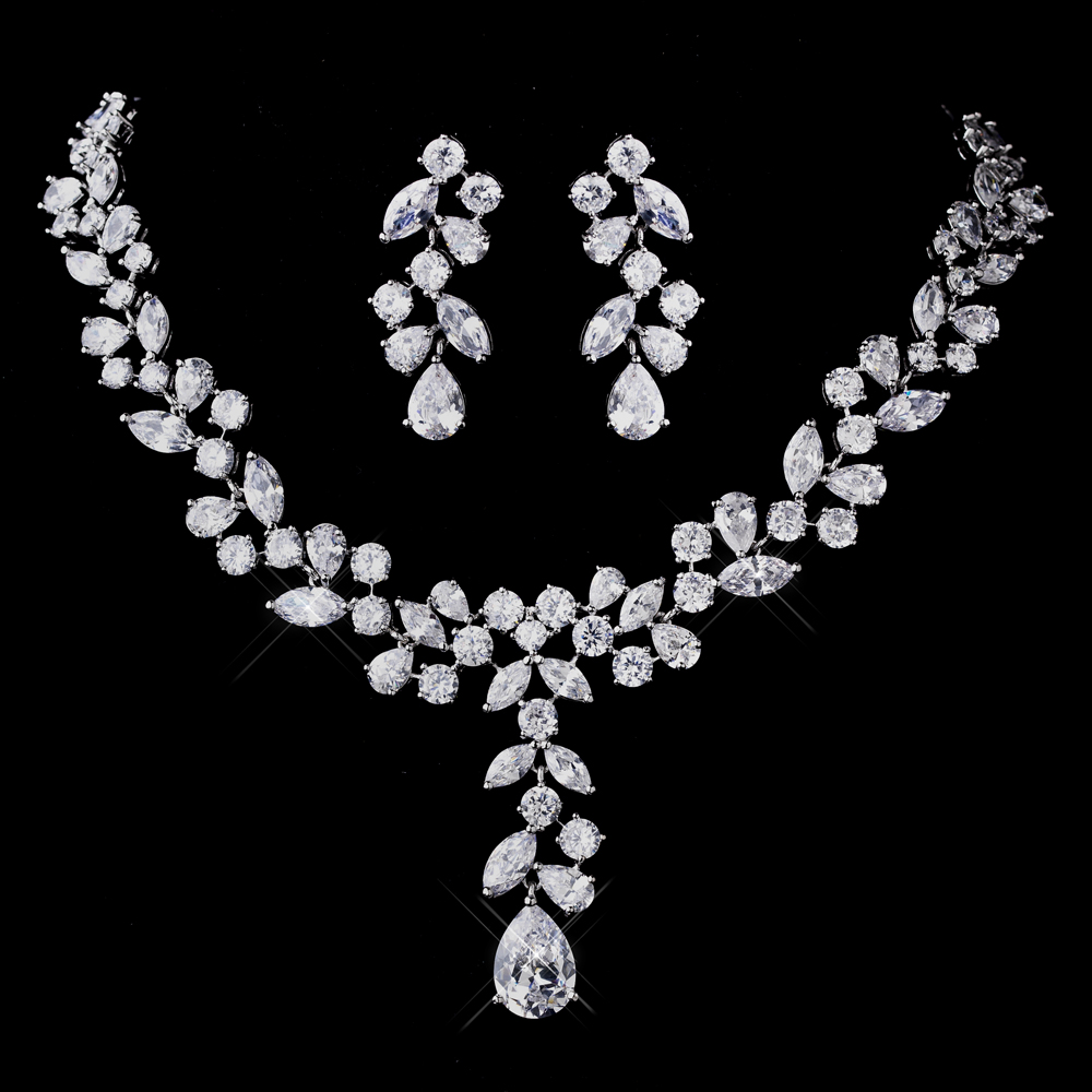 wedding necklace bridal necklaces wedding necklaces Geneva Bridal Jewelry Set CZ Wedding Necklace and Earring Set