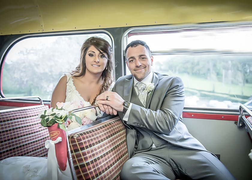 On the bus wedding at Stirk House Hotel