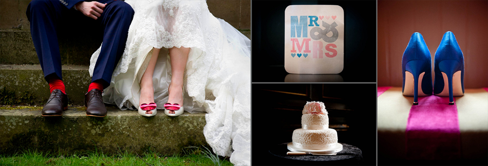 Wedding shoes, cake and invite