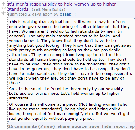 Redditor: Do Your Bit for Gender Equality by Telling Women They're Terrible