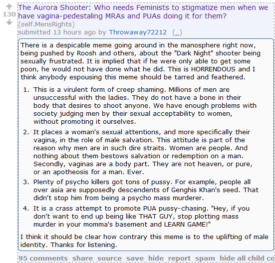 """In the wake of the tragedy in Aurora, Men's Rights Redditors take a brave stance against """"vagina-pedestaling"""" and """"creep shaming."""""""