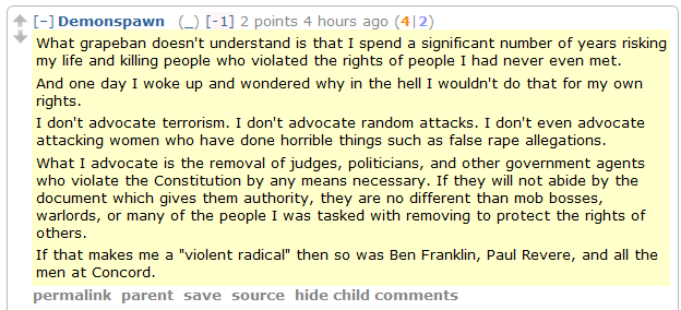 """Men's Rights Redditor: """"I advocate the removal of judges, politicians, and other government agents who violate the Constitution by any means necessary."""" [UPDATED]"""