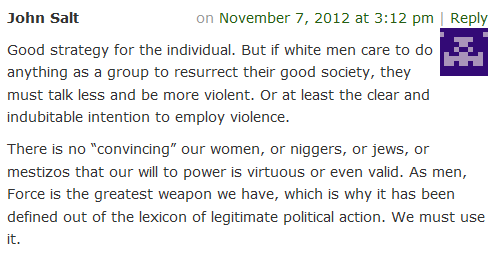 """As men, Force is the greatest weapon we have … We must use it,"" says racist manosphere asshat."