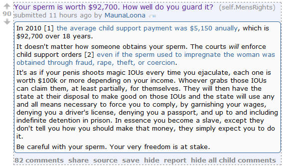 "Men's Rights Redditor warns men: ""Be careful with your sperm. Your very freedom is at stake."""