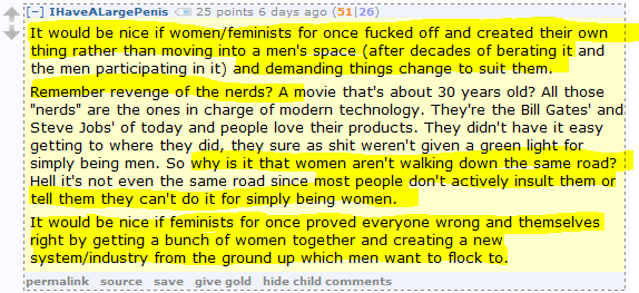 "Men's Rights Redditor on Gaming: ""It would be nice if women/feminists … f**ked off and created their own thing rather than moving into a men's space … ."""