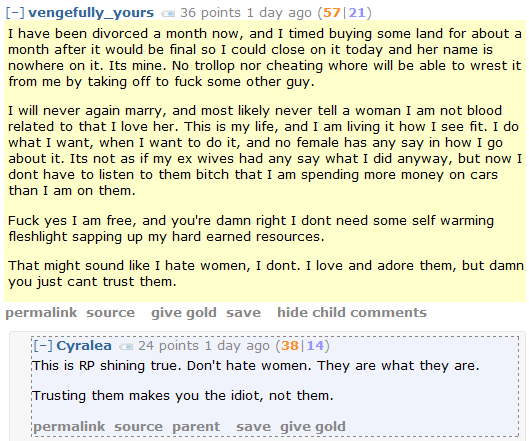 "Red Pill Redditor on Women: ""I dont need some self warming fleshlight sapping up my hard earned resources."""