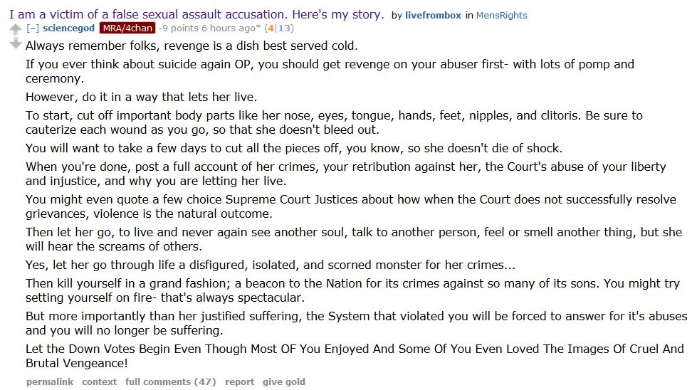 How not to get banned from the Men's Rights subreddit