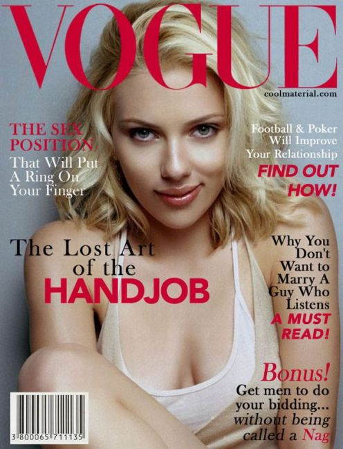 Note to clueless misogynistic dating coaches: Vogue magazine does not run handjob how-to's as cover stories