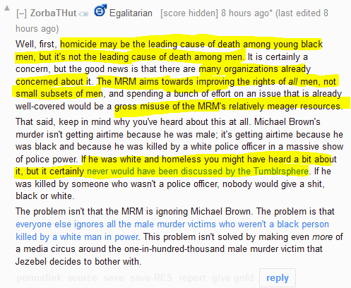 """Egalitarian"" Redditor explains why protesting Michael Brown's shooting would be a ""gross misuse of the MRM's relatively meager resources."""