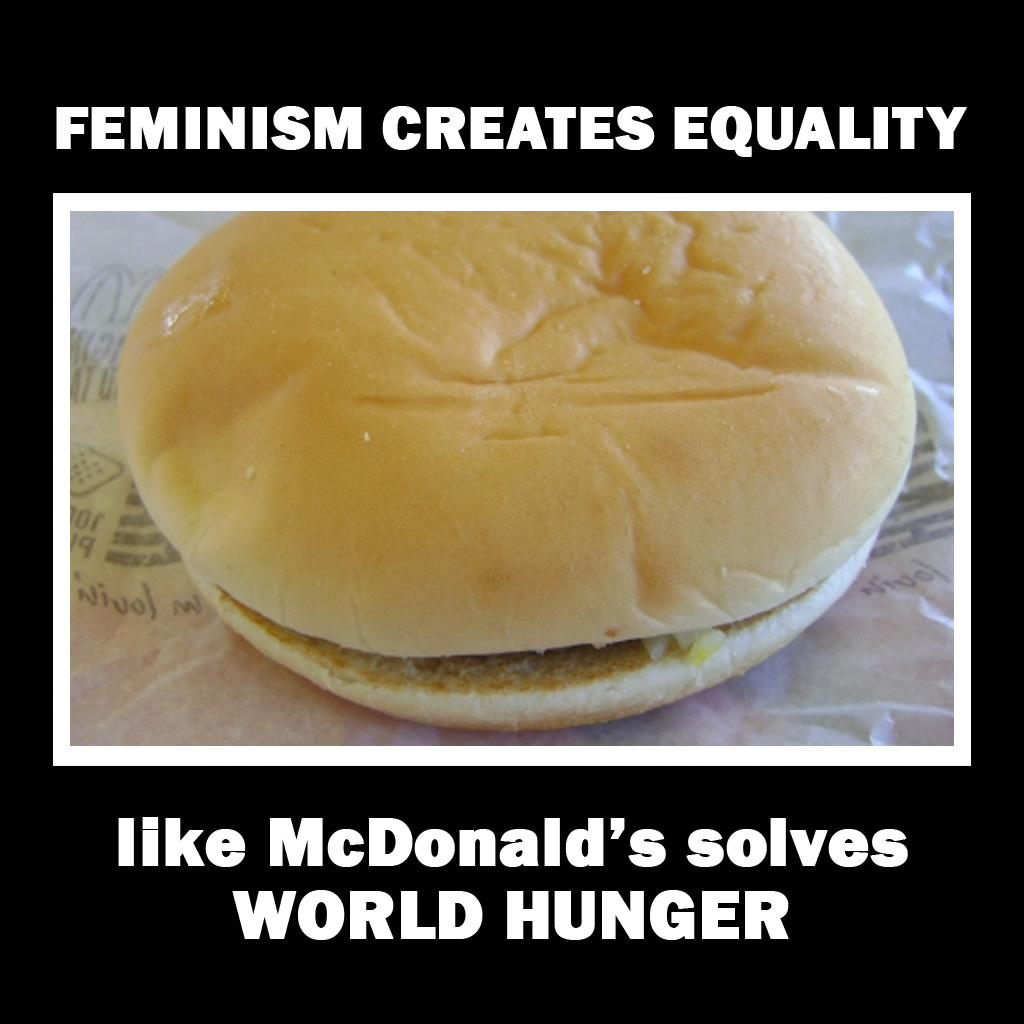 "Baffling MRA Meme of the Day: ""Feminism creates equality like McDonald's solves world hunger."""