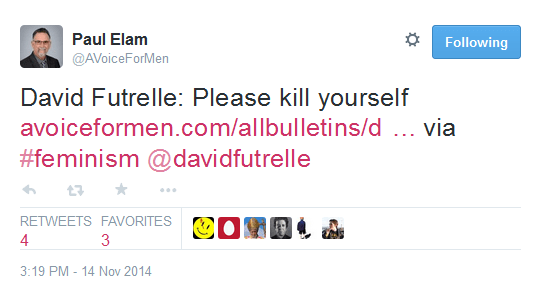 In which Paul Elam, alleged human rights champion, tells me to kill myself