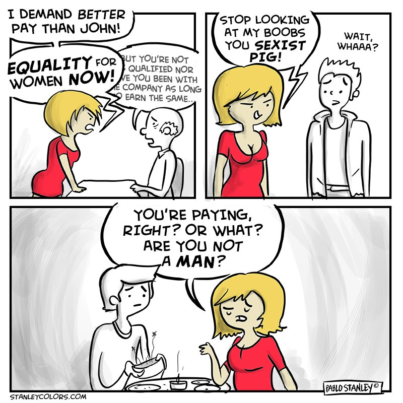 MRA comic totally nails feminism and its central demand that men pay for dinner