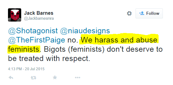 A self-described harasser and abuser of feminists is accusing me of threatening Cassie Jaye