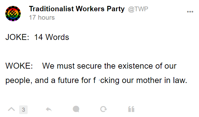 Traditionalist Workers Party @TWP 17 hours JOKE: 14 Words WOKE: We must secure the existence of our people, and a future for fucking our mother in law.