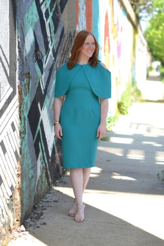 ASOS teal open shoulder dress