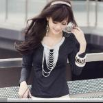 Inset Necklace Long Sleeve Tee