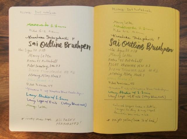 Dots Notebook writing samples
