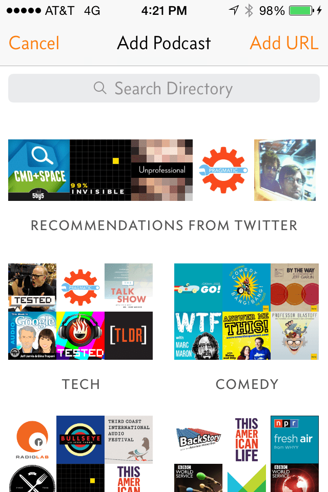 Overcast recommendation screenshot