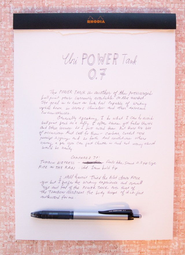 Uni Power Tank pen 0.7 writing sample