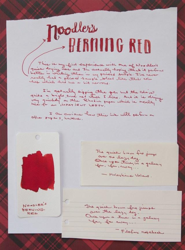 Noodler's Berning Red ink writing sample