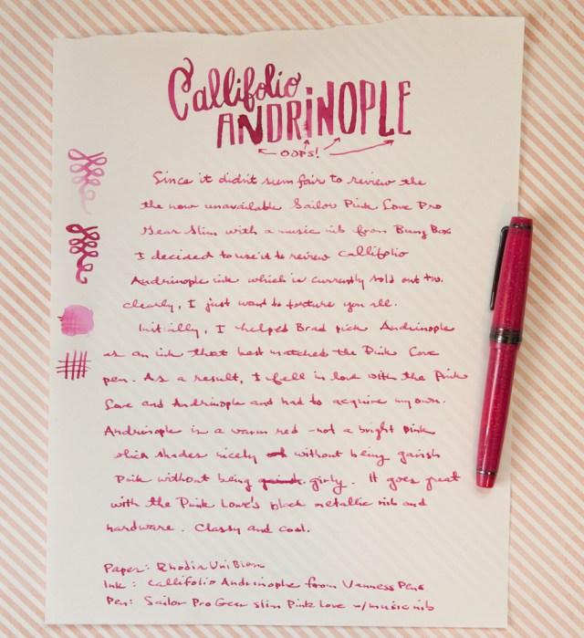 Callifolio Andrinople Ink Writing Sample