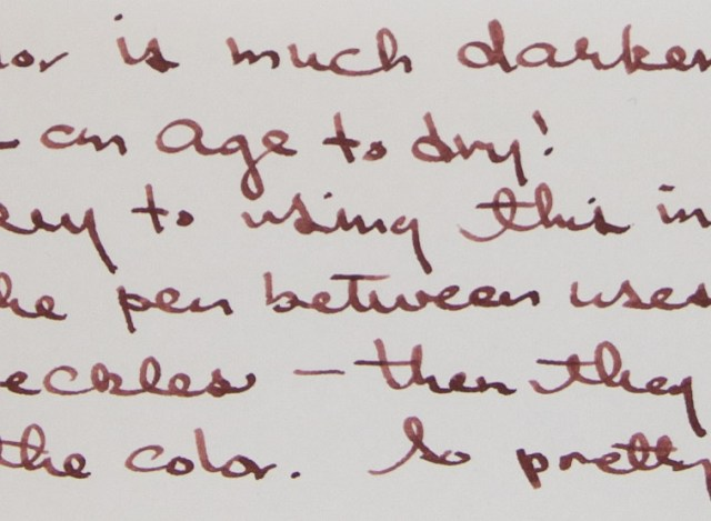 J. Herbin 1670 Caroube de Chypre writing sample close-up
