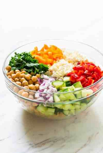 Mediterranean Chickpea Salad with Feta and Cucumber