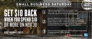 Register your American Express Cards and Get a $10 Statement Credit per Card on Small Business Saturday
