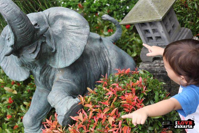 Elephant statue at Bogor Botanical Gardens Indonesia
