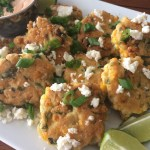 Sweet Corn Fritters with Spicy Sour Cream