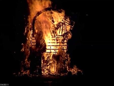 burning straw goat