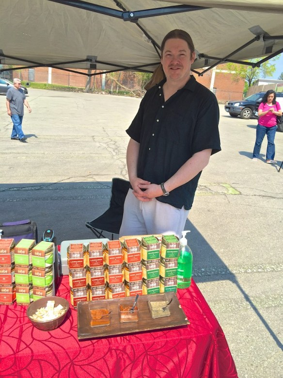 Rob Heidenreich with his gourmet dips and offered some delicious free samples.