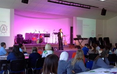 Children's Commissioner for Wales Sally Holland opens the Pupil Action Conference at Baglan Community Church Centre.