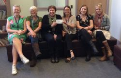 Pictured with Jenny Hart, Domestic Abuse Coordinator for Pembrokeshire, are members of the team at Hafan Cymru; Shevaughn Williams, Helen Williams, Necia Lewis County Manager (receiving the cheque) Emma Stott and Natalie Badham.
