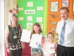 Pictured are competition winners Jessie Powell and Luciana Taborda flanked by Natalie Hobbs and John Bearne from Pembrokeshire County Council.