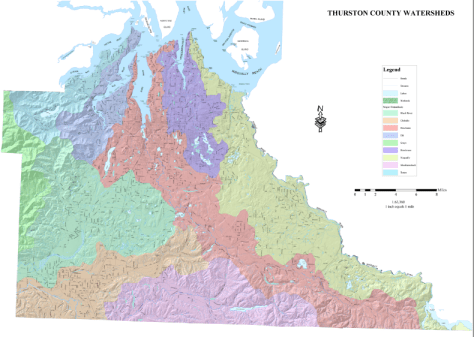 Map of all nine Thurston County Watersheds. Deschutes Watershed is Pink colored band stretching from Center to Right