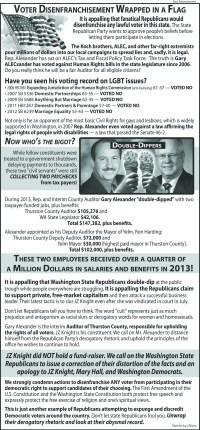 Just one of the full page ads JZ Knight has purchased to support Democratic candidates in Thurston County (and never reported to the Public Disclosure Commission) from 2013