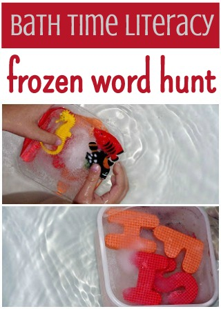 bath time activity for kids: frozen word hunt