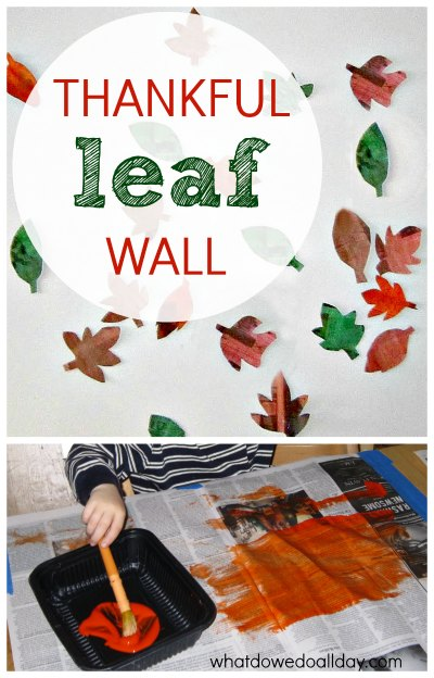 Countdown to Thanksgiving by recording blessings on crafed leaves.