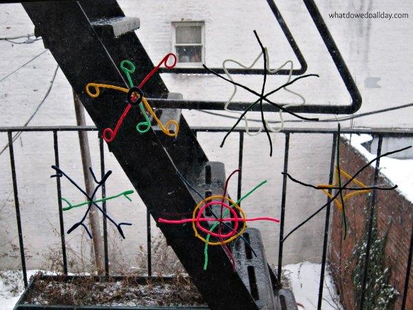 Snowflakes with wikki sticks