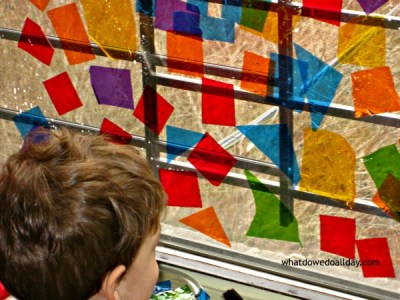 Faux stained glass window art project for kids