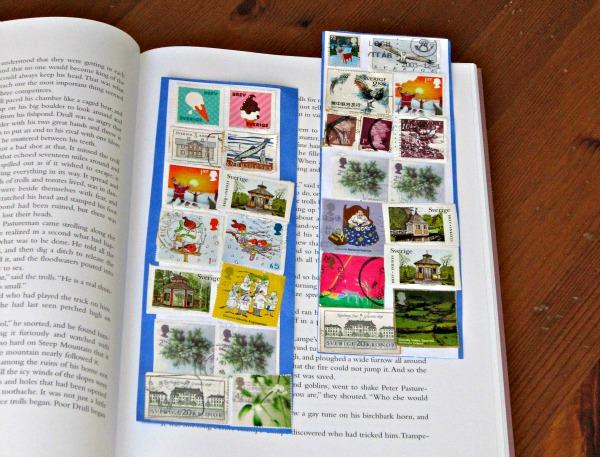 Easy Kid Craft: postage stamp bookmarks