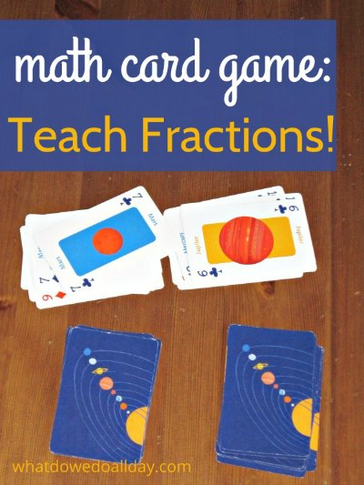 Kids practice fractions with a simple math card game