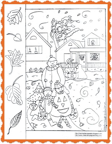 Free printable halloween coloring page with 5 little leaves rhyme