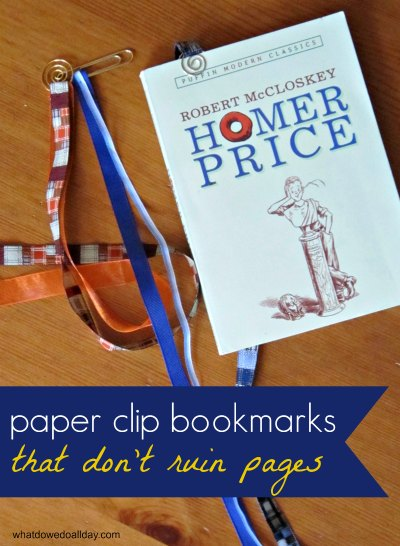Handmade paper clip ribbon bookmarks that won't ruin your book pages
