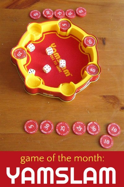 Yamslam is a fun family game, a bit of a riff of Yahtzee but much better for kids.