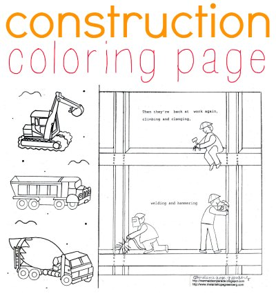 Construction coloring page by children's book illustrator