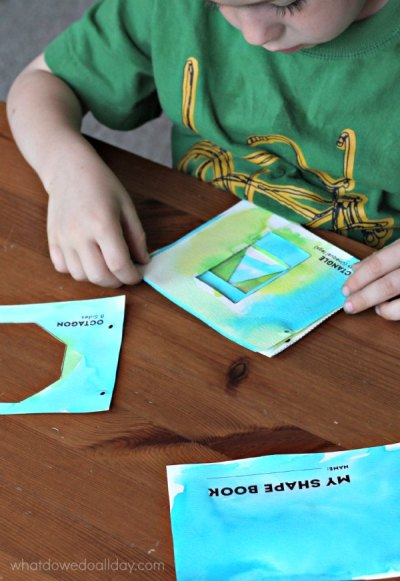 Make a shape book. A fun math art project.