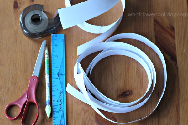 Supplies for making a Mobius strip