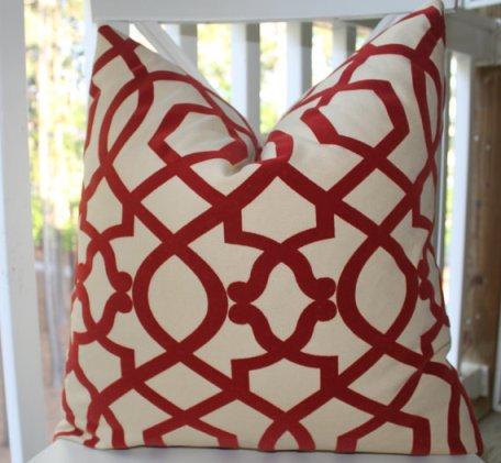 red geometric trellis pillow, Motif pillow giveaway, 6 Month Blog Anniversary